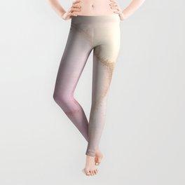 Blush Pink Gold Ink Texture  Leggings