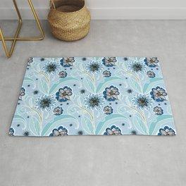 Floral one direction - arte & craft blue Rug