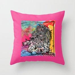 Poodle 2 pop art Throw Pillow