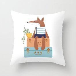 Fox on Vacation Throw Pillow