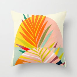 minimal leave tropical spring Throw Pillow