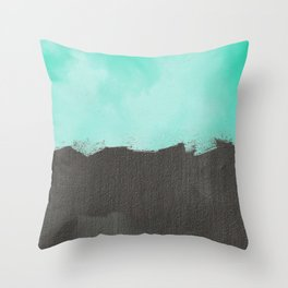 Two color abstract - blue, gray Throw Pillow