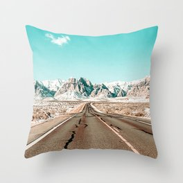 Vintage Desert Road // Winter Storm Red Rock Canyon Las Vegas Nature Scenery View Throw Pillow