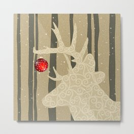 Golden Glittery Deer Holiday Design Metal Print