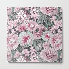 Nostalgic Flower Pattern Teal And Pink Metal Print