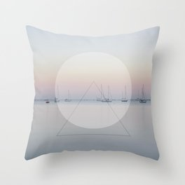 Calm Sea Sail Boats Geometric Nature Art Throw Pillow