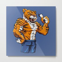 Tiger Fighter Mascot  Metal Print