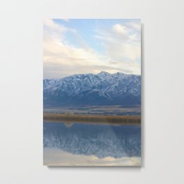 Utah Mountains Mirrored on the Water Metal Print