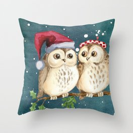 Cute Christmas Winter Owl Couple Painting Throw Pillow