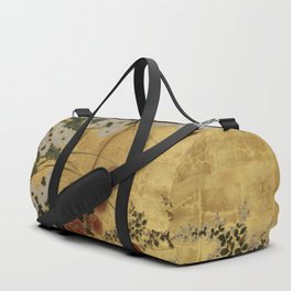 White Red Chrysanthemums Floral Japanese Gold Screen Duffle Bag