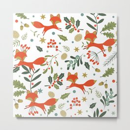 Cute foxes and winter evergreens pattern Metal Print