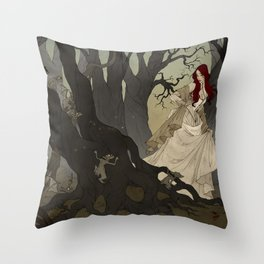 Through the Black Wood Throw Pillow