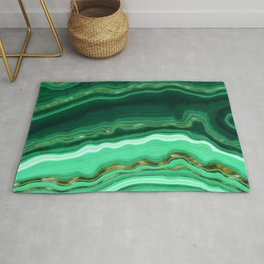 Gold And Malachite Marble Rug