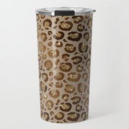 Brown Glitter Leopard Print Pattern Travel Mug
