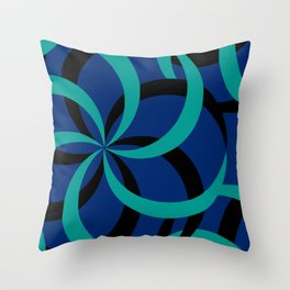 Blue spiral pattern Throw Pillow