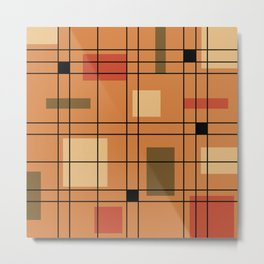 1950's Abstract Art Burnt Orange Metal Print