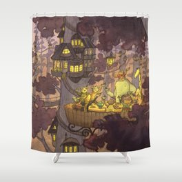Treehouse Dinner With Animal Friends Shower Curtain