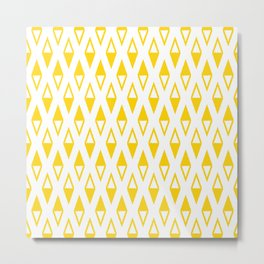 Classic Diamond and Stripes Pattern 250 Yellow Metal Print