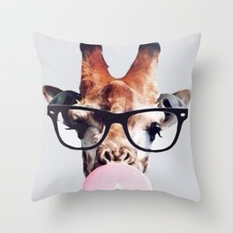 Giraffe wearing glasses blowing bubble gum Throw Pillow