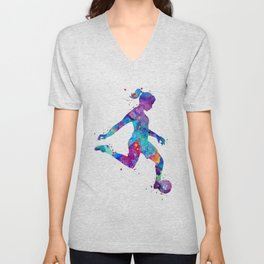 Soccer Girl Player Watercolor Art Gift Sports Art Unisex V-Neck
