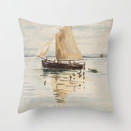 """Egon Schiele """"Segelschiff mit Spiegelungen (Sailing ship with reflection)"""" Throw Pillow"""