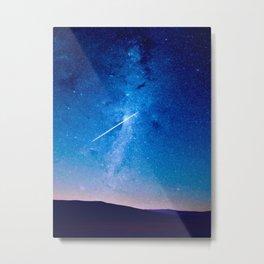 Night Sky Landscape Photography Stars Sky Shooting Star Glowing Milky Way Galaxy Metal Print