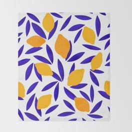 Blue and yellow Lemon Summery Pattern Throw Blanket