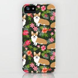 Corgi Hawaiian Print Tropical hibiscus flower cute corgi dog pattern iPhone Case