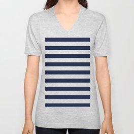 Nautical Navy Blue and White Stripes Unisex V-Neck