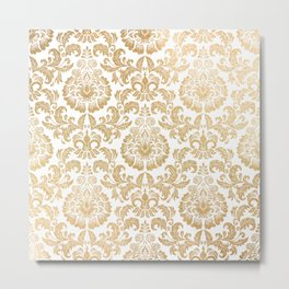 Gold foil swirls damask 16 Metal Print