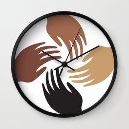 Melanin Shades Black Pride Hands African American Woman Black Lives Matter Wall Clock