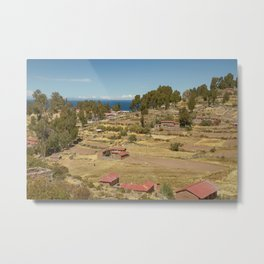 Houses of Local Peruvian People Living on Taquile Island, Peru Metal Print