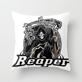 Illustration of grim reaper on white background Throw Pillow