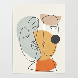Abstract Faces 30 Poster