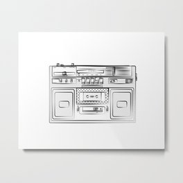 retro tape recorder illustration, cassette player drawing, 80s radio Metal Print