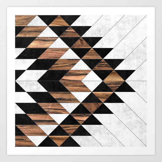 Urban Tribal Pattern No.9 - Aztec - Concrete and Wood by zoltanratko