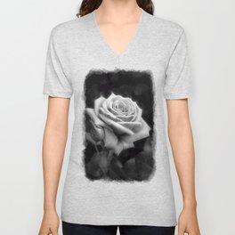 Pink Roses in Anzures 3 B&W Unisex V-Neck