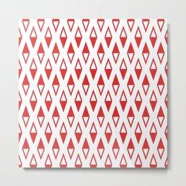 Classic Diamond and Stripes Pattern 250 Red Metal Print