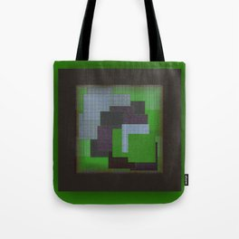 Green Color Geometry Tote Bag