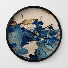 Cottages On Cliffs Traditional Japanese Landscape Wall Clock