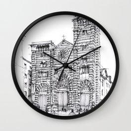 Cattedrale di Genova schizzo di studio Wall Clock