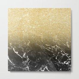 Modern girly luxurious faux gold glitter black marble pattern Metal Print