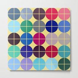 Multicolor Dots on Grid Metal Print