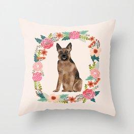 german shepherd dog floral wreath dog gifts pet portraits Throw Pillow
