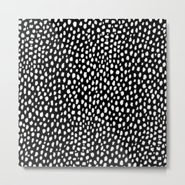 Handmade polka dot brush strokes (black and white reverse dalmatian) Metal Print