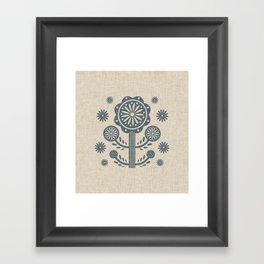 Scandi-blossom   Gray-Blue Framed Art Print
