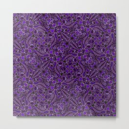 Ultraviolet Mushroom Wood, Field Ferns Leaves  in Lavender Purple Fungi Forest Painting Metal Print
