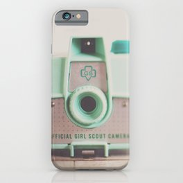 mint green vintage girl scout camera photograph iPhone Case