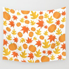Colorful leaves and pumpkins Wall Tapestry