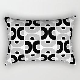 Funky Mid Century Modern Pattern 594 Gray and Black Rectangular Pillow